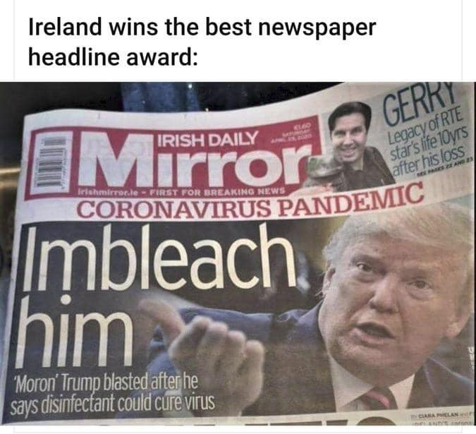 Irish Daily Mirror Impleach Him