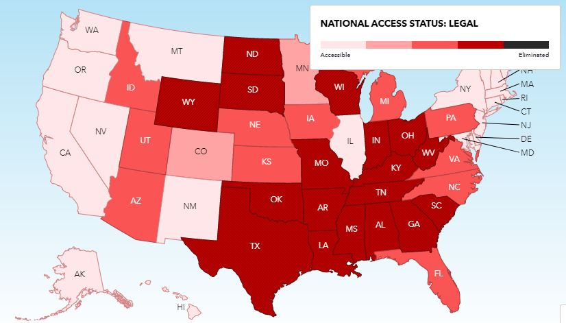 Planned Parenthood Abortion Access Map
