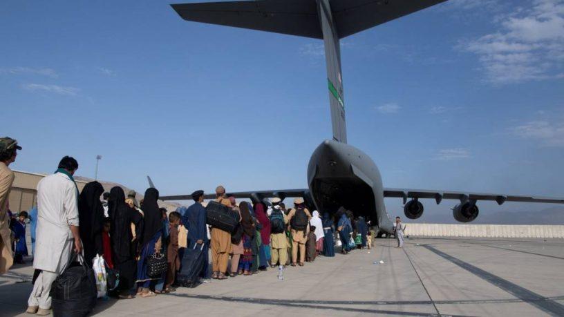 Queue at Kabul Airport Courtesy of BBC